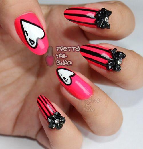 Neon red black stiletto nails