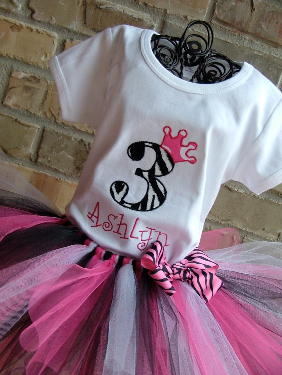Zebra Print Birthday Number Crown Tutu Outfit by TickleMyTutu, $40.95