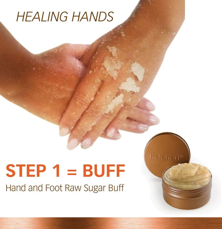 Our Healing Hands promotional kit is perfect for an 'at home' manicure. Step 1...Gently slough away dry, dead skin cells with our Hand and Foot Raw Sugar Buff