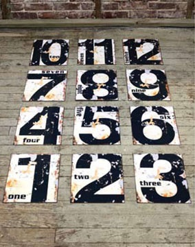 Vintage Style numbered tin signs (No. 1-12)