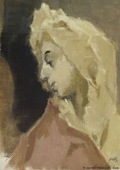 Helene Schjerfbeck - Profile of Madonna, Painting: oil on canvas