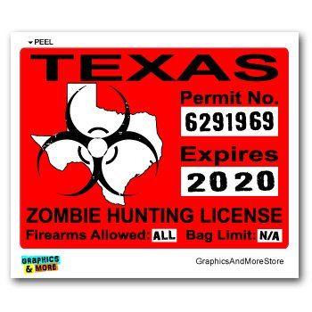 Texas TX Zombie Hunting License Permit Red - Biohazard Response Team - Window Bumper Locker Sticker