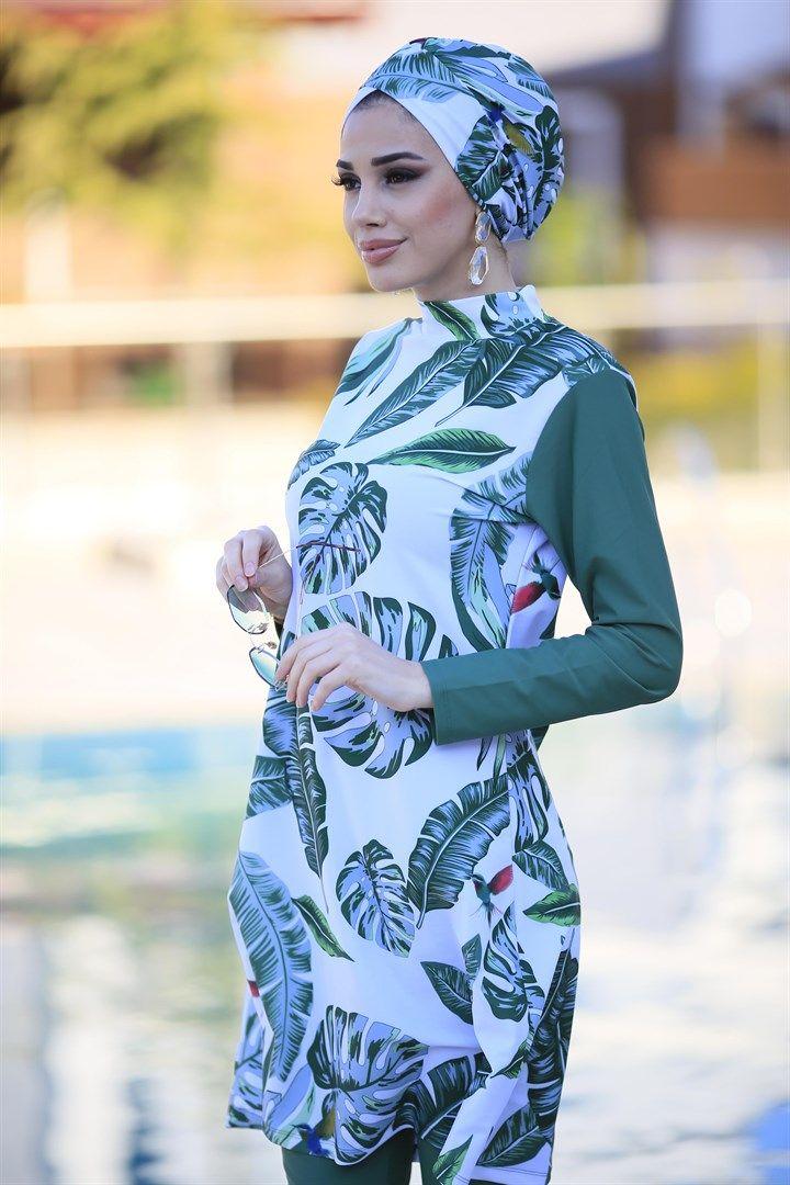 Tasarim Tam Kapali Tesettur Mayo Remsa Mayo Yesil Yapraklar 2020 Moda Stilleri Mayolar Basortusu Modasi