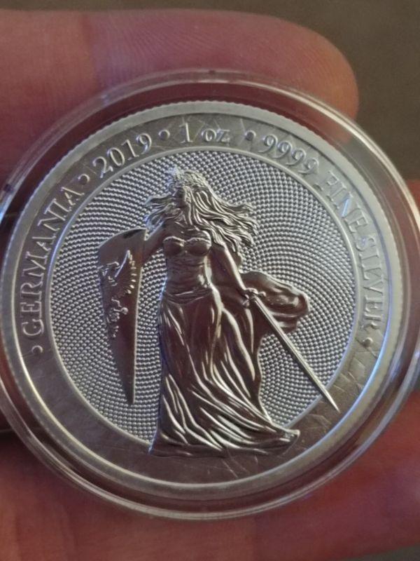 Bullion 2019 Germania 5 Mark 1 Oz 9999 Silver Coin Capsule Included 001 Silver Coins Bullion Coins