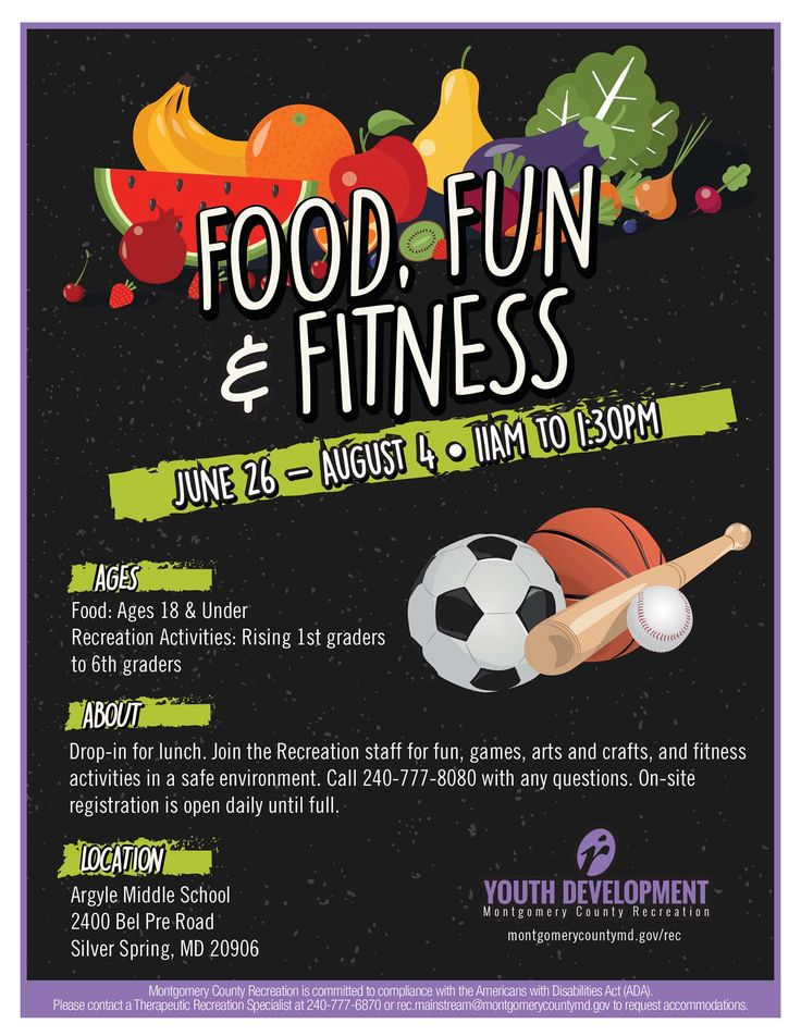 Our free Food, Fun & Fitness lunch and activities program at Argyle Middle School in Silver Spring.
