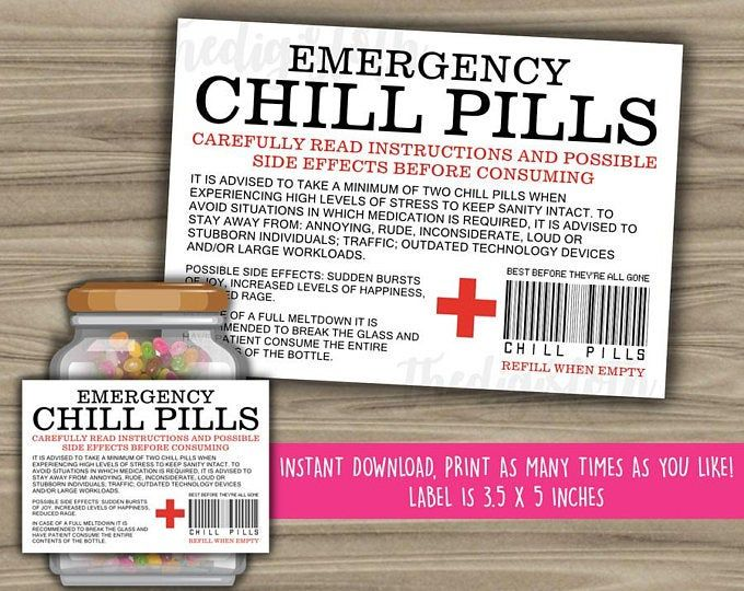 Chill Pill Gifts For Teachers Funny Printable Gifts In 2021 Chill Pills Printable Labels Bottle Label Template