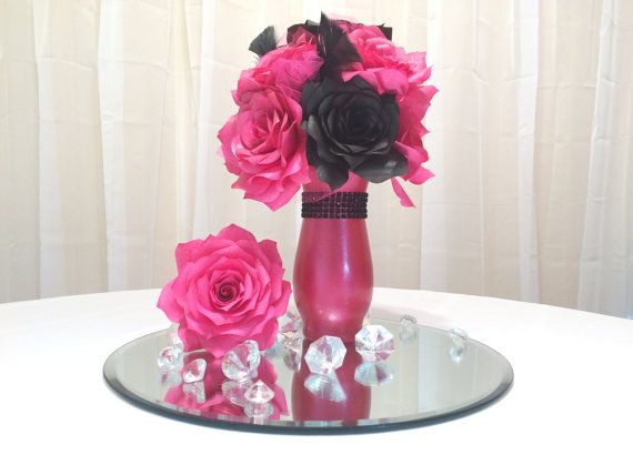 Hot pink and black floral centerpiece Hot pink by CENTERTWINE