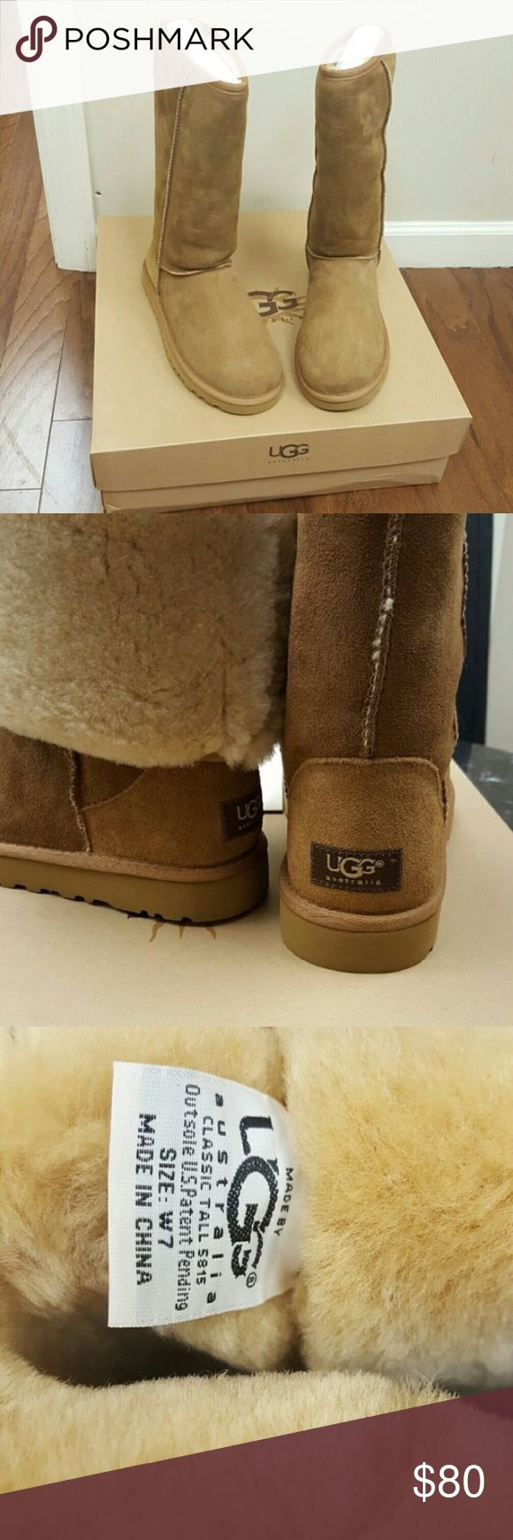 "*NEW* Chestnut Ugg Boots - Tall [re-posh] purchased these for a stellar deal last summer and totally forgot about them this winter 🙆 I  already own two other pairs, so I have decided to let these go.  As I did not purchase these from an Ugg store I cannot ""guarantee"" authenticity, BUT I have no reason to believe they are not (or I wouldn't have purchased myself).  Photos are *not* mine - from original seller. I will take my own photos though upon interest & request. Info from original…"
