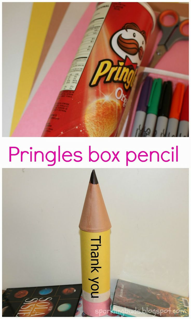 Pringles box pencil - An easy to make gift! We did this as  a gift for teacher.