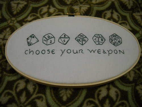Sweet Dungeons and Dragons embroidery.