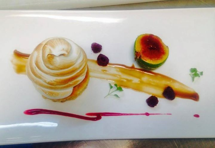 The beautiful and delicious Bombe Alaska, a new item on the decadent dessert menu! This dish was served to the King and Queen of Norway today who dined at Aravina Estate for lunch!