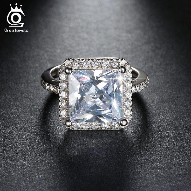 ORSA JEWELS Top Grade 5 ct Princess Cut CZ Crystal Engagement Silver Ring for Women Luxury Promise Jewelry Gift OR97