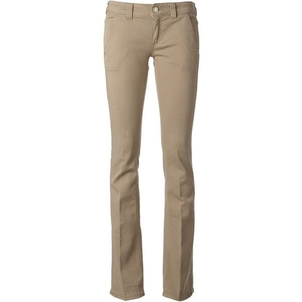 Dondup flared chinos ($215) ❤ liked on Polyvore featuring pants, brown trousers, brown chino pants, cotton chino pants, chino pants and flare trousers
