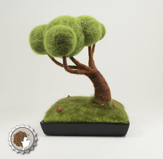 Bonsai felted with mushrooms, art doll,  miniature, diorama, heart