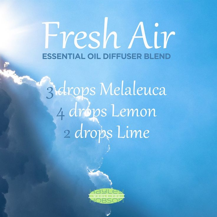 This essential oil diffuser blend is a breath of Fresh Air! Melaleuca essential oil provides an herb scent and protects against environmental threats. Lemon essential oil boasts a clean, fresh, citrus scent and cleanses and purifies the air. And Lime essential oil positively effects the mood while stimulating the senses. A wonderful blend to diffuse in your home every day! www.hayleyhobson.com