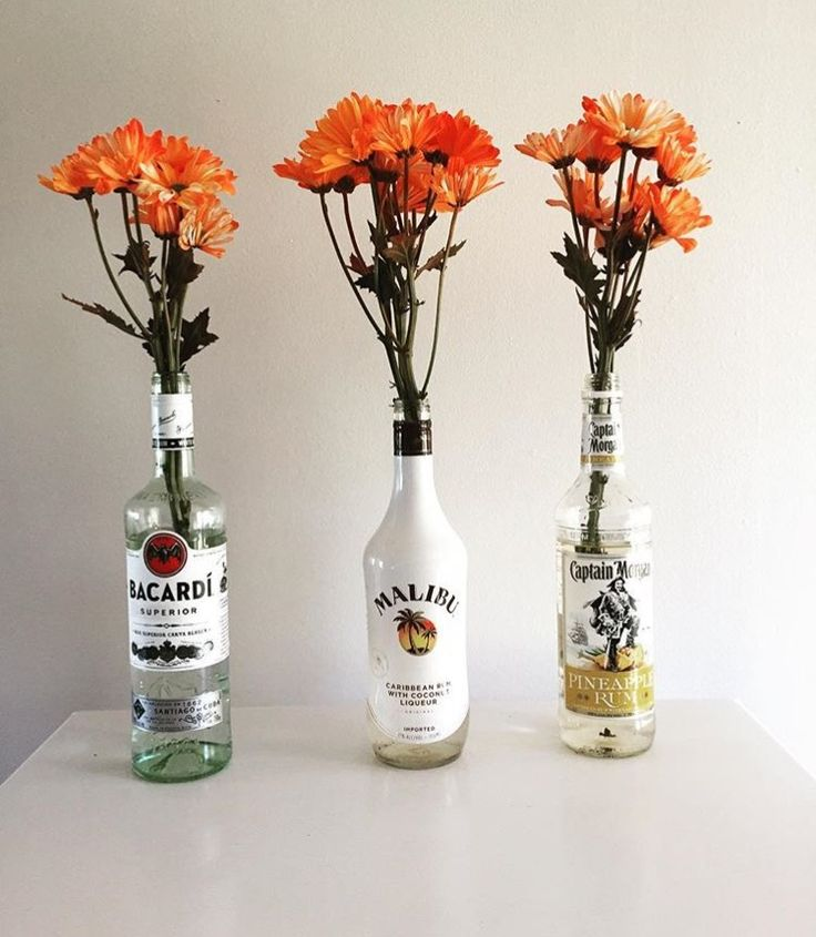 My roommate and I put fresh cut flowers in empty liquor bottles we had used.