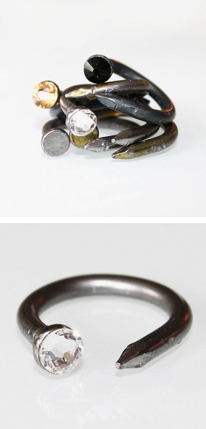 Steel + crystal nail ring // perfect contrast of femininity and masculinity in design #jewelry_design