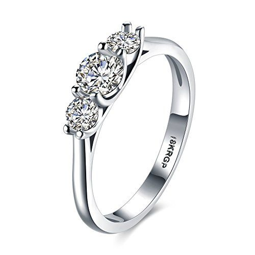 Eternity Love Women Wedding Engagement Rings 18K Gold Plated Cz Diamonds Bands Solitaire Princess Cut Promise Anniversary Bridal Jewelry Infinity Love for Her 6-9