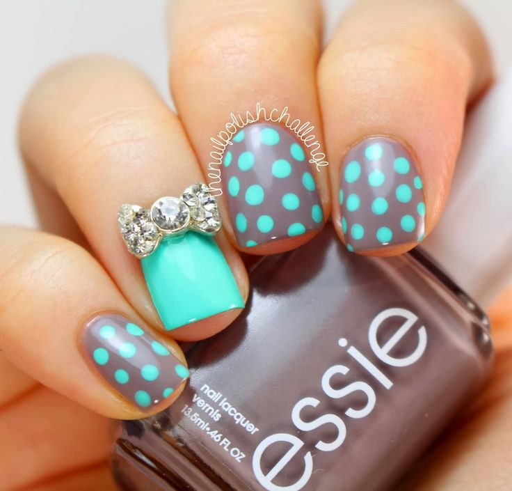 Teal & Gray Polka Dot Nails.