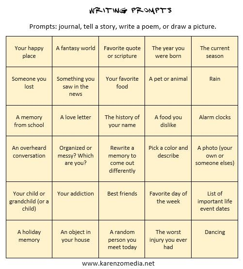 I like to come up with prompts  that I can use for inspiration when journaling or considering a story or poem. You can use these prompts one day at a time or print them out, cut them out, and place...