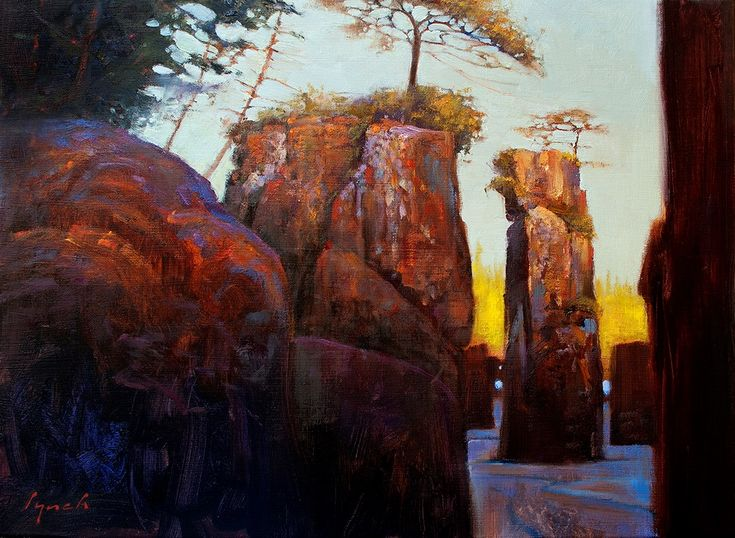 "Brent Lynch - Sunset on Stacks, San Josef Bay (Field Study) - oil on canvas - 18"" x 24"""