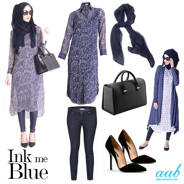 An endless wave of deep blue hues washed over the spring/summer collection, with ocean-inspired shades injecting a clean, fresh look for the season ahead - feeling blue has never looked so good... Embrace the summer with these summery printed shirtdresses in navy and white. Inject some indigo with your jeans and hijab and add some chic black accessories. Equally perfect for work or off-duty. http://www.aabcollection.com/shop/product/african-paisley-chiffon-silk-shirt-dress/625