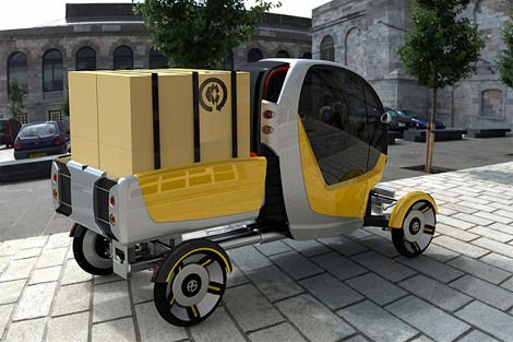 CarGo    The battery poweredCarGo's innovative design allows the operator or driver to quickly adapt the vehicle to suit both traffic conditions and load volume/type.The CarGo has one seat and provides three standard configurations; compact mode, narrow mode with banking corner action and pick-up truck mode for larger payloads.