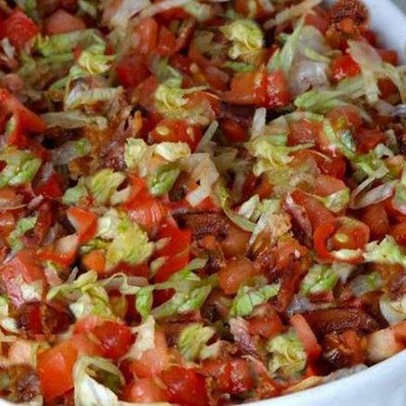 """BLT Dip.  The recipe author states,  """"Warning, it went so fast I barely had time to try it!""""   Serve with toasted bread rounds or pita chips."""