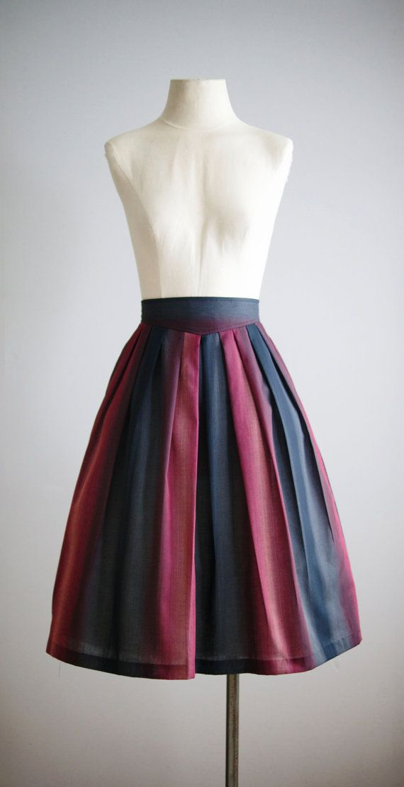 ombre skirt / 1980s cotton pleated skirt / by VacationVintage