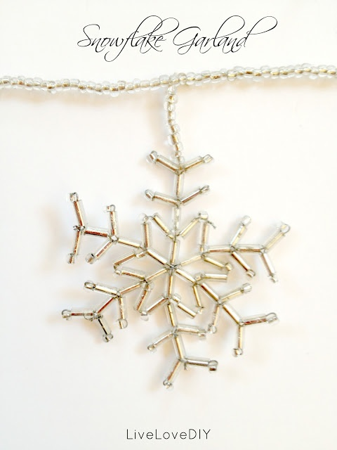 DIY beaded snowflake garland tutorial