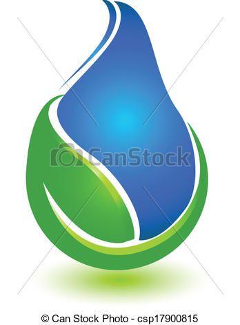 Vector Clip Art de hoja, gota, agua, logotipo - hoja, gota, agua ...