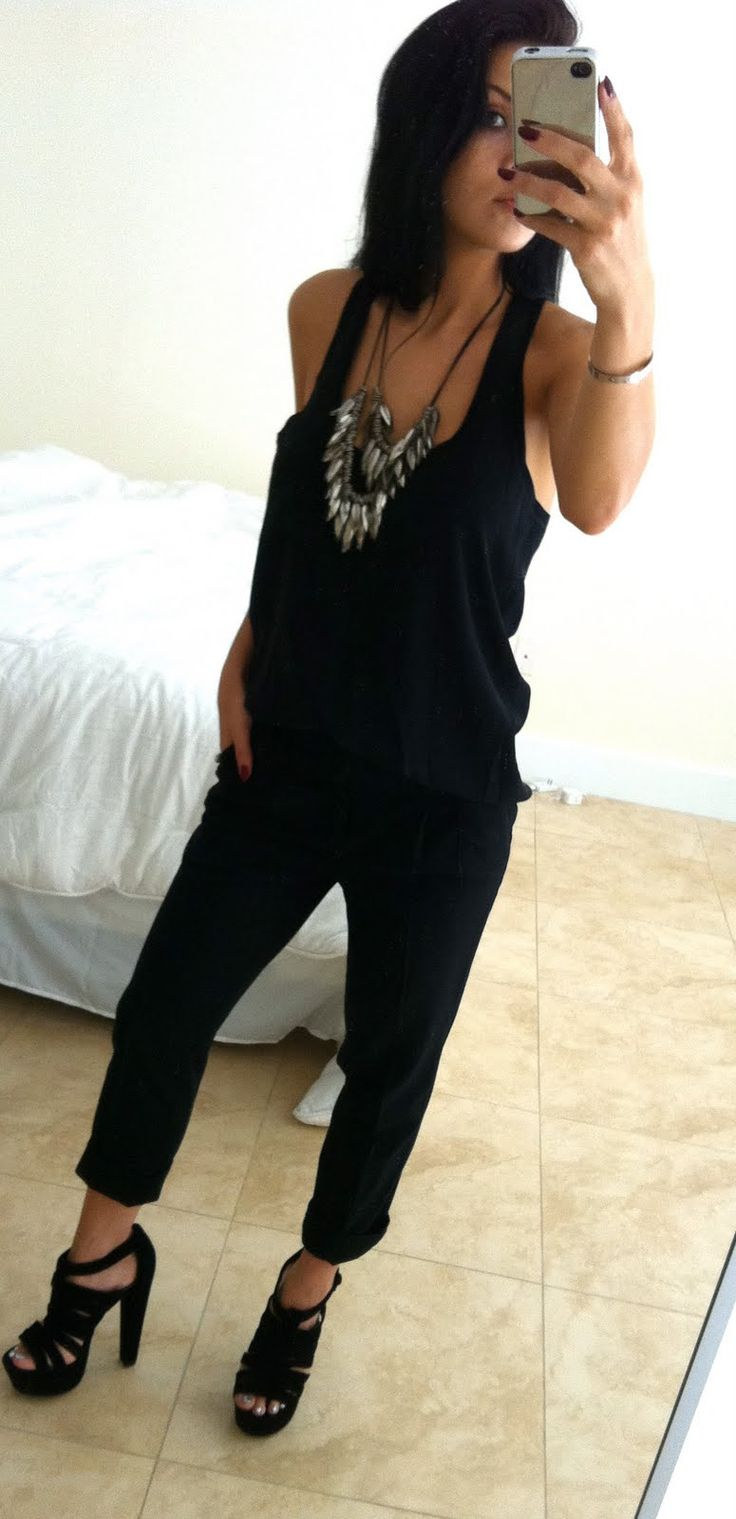 Tank, High waist trouser and necklace all from F21, Steve Madden platforms
