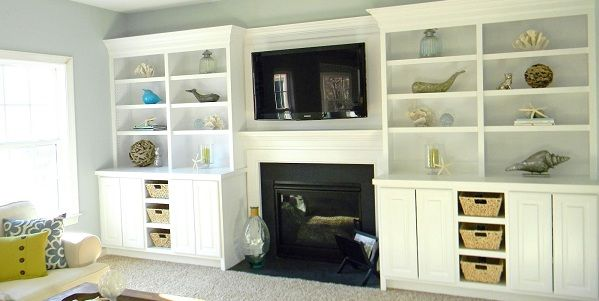 Beach Costal Family Room Makeover. Loves these shelves - i want to do this around our fireplace.