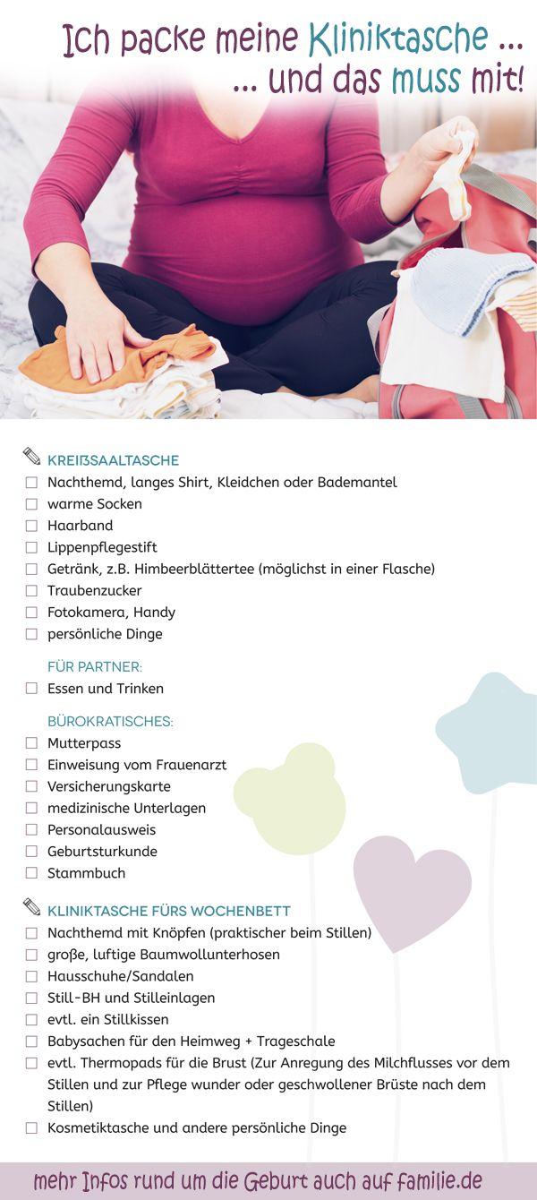 Kliniktasche: Hilfreiche Checkliste zum Ausdrucken.