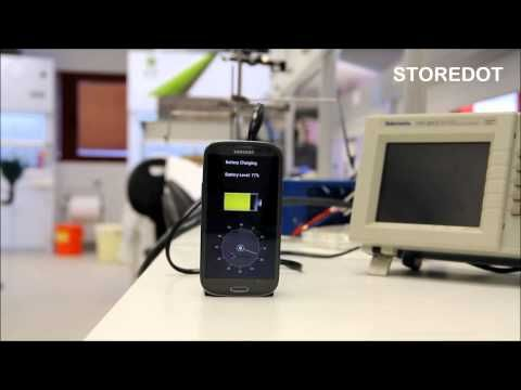 Charging Smartphone in 30S: StoreDot Flash-Battery Demo - YouTube