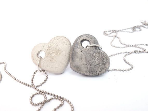 Two silver and concrete hearts necklaces. Long by shooohs on Etsy