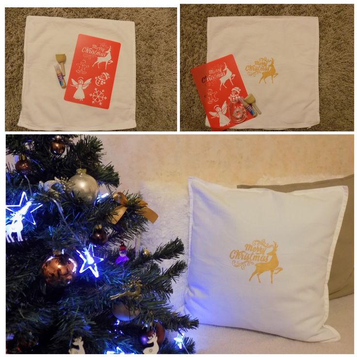 Diy Pillow                    Hogyan készíts magadnak karácsonyi párnahuzatot? Kell hozzá egy egyszerű párnahuzat,textilfesték,sablon és néhány szabad perc és már kész is!