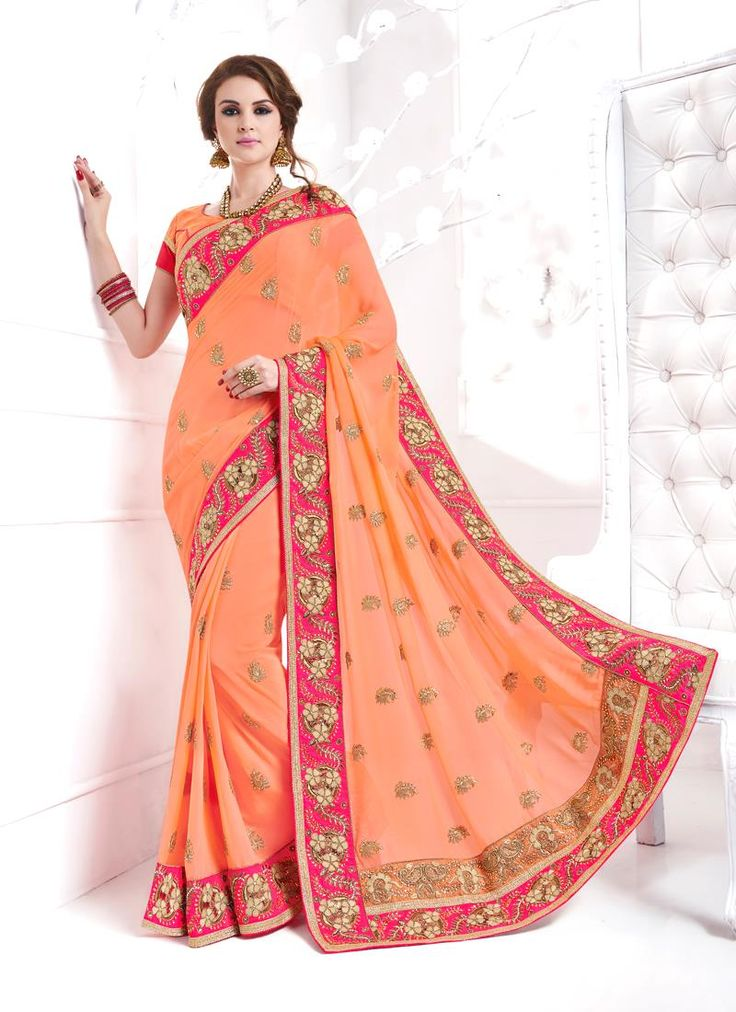 Buy from the latest range of designer collection of saree. Buy this georgette designer traditional sarees for party and wedding.