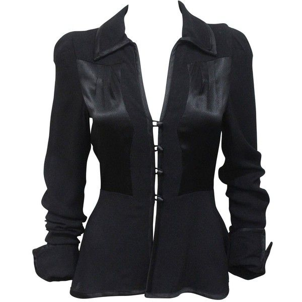 Pre-owned 1970s Ossie Clark Black Peplum Satin Evening Blouse ($1,610) ❤ liked on Polyvore featuring tops, blouses, shirts, outerwear, black peplum shirt, holiday blouses, satin shirt, black top and satin blouse