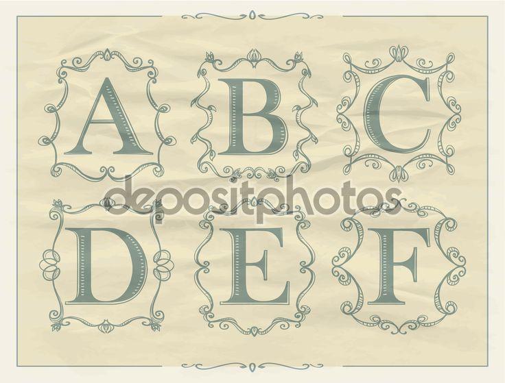 Scarica - Lettere dell'annata calligrafici in cornici retrò di monogramma, loghi di alfabeto - A, B, C, D, E, F — Illustrazione stock #73683105