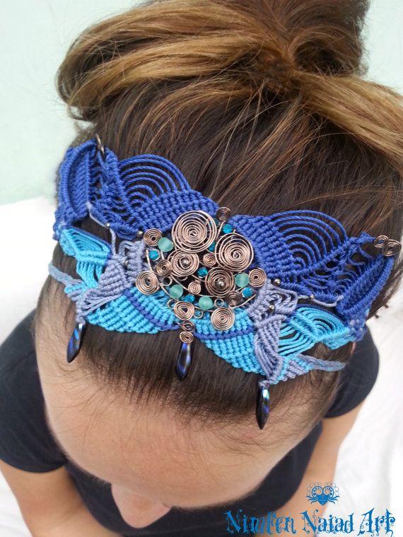 Blue macrame headband Naia copper spirals and glass by NimfennArt.