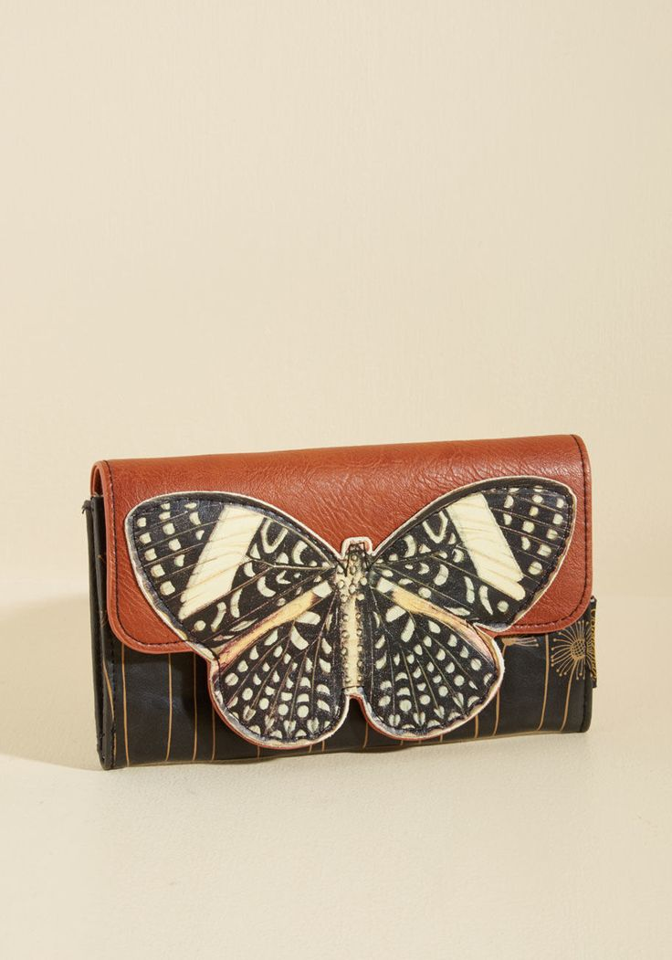 Leather Zip Around Wallet - Butterflies and Moths by VIDA VIDA