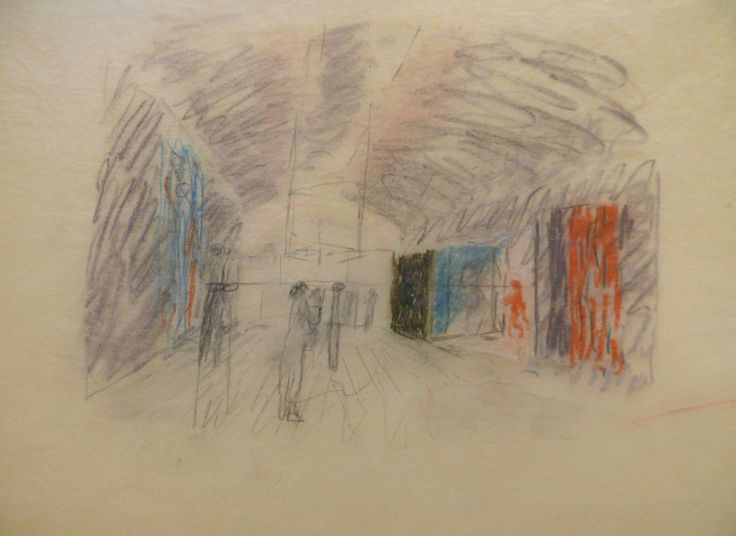 Kimbell Art Museum drawing by Louis Kahn.