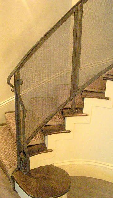 mesh screen stair rail + seagrass runner