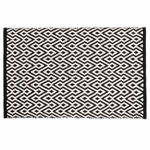 Tapis à poils courts et motifs en coton noir et blanc 60 x 90 cm ETHNICO