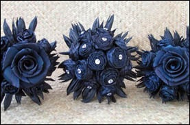 Flax flowers, flax roses / dark blue with jewel pins