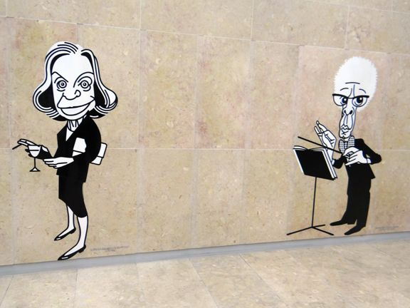 When I took the metro back to the Lisbon airport, I surprised with the most delightful wall panels of black and white caricatures of famous Portuguese artists, writers, musicians, and entertainers. Lisbon, Portugal
