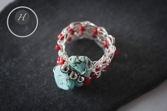 Silver Crochet Turquoise Ring by HelenaBausJewellery on Etsy