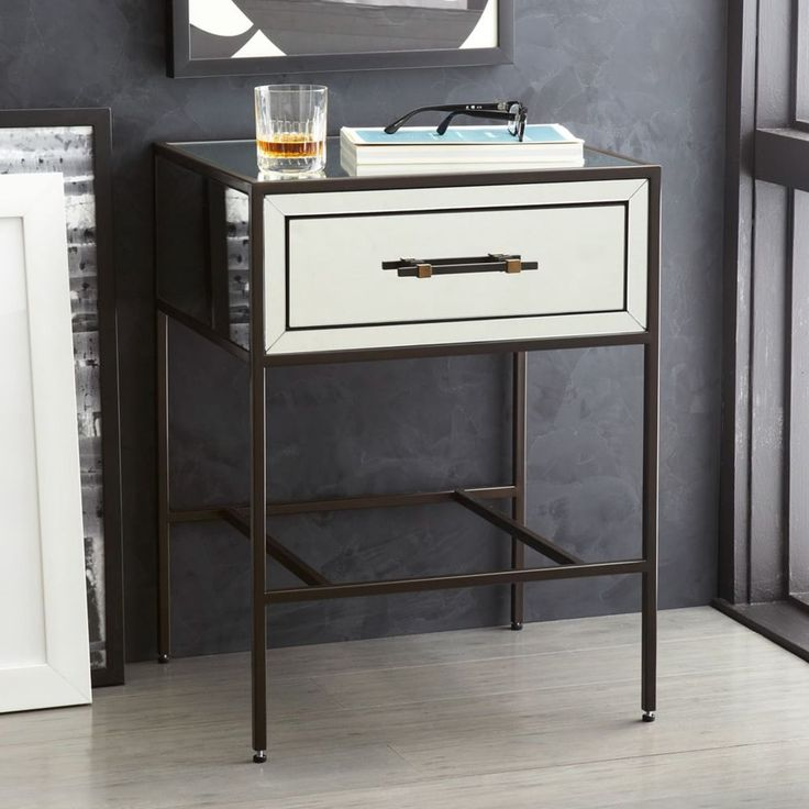 Mirrored Bedside Table 51w x 43d x 65h cm