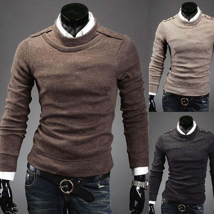 Free Shipping 2015 Fashion Full Sleeve mens sweater casual wear solid O-Neck Sweater 3 colors H7528